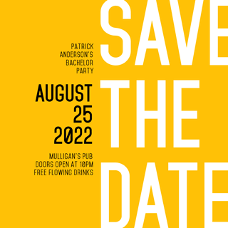 Save the Date Editable Invitation Layout with Yellow Background
