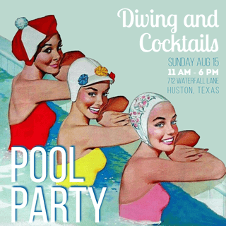 Pool Party - Diving and Cocktails Invitation Example