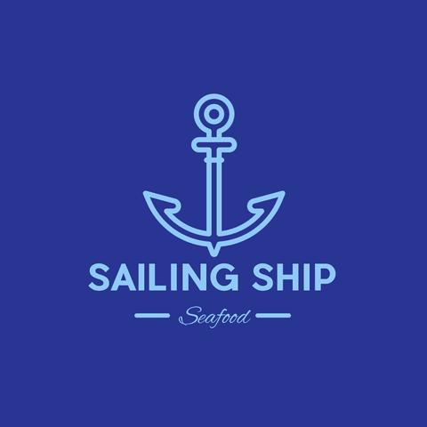 Blue Sailing Ship Logo Editable for Any Restaurant or Seefood Shop