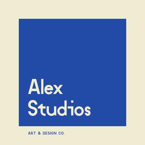 Studio Logo Example into a Blue Square Background
