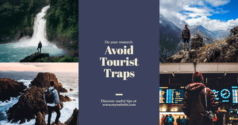 Travel-Nature Photo Collage Card Layout with Centered Text