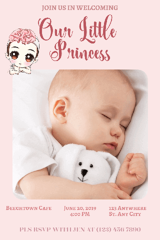 Baby Shower for Your Little Princess Poster Example