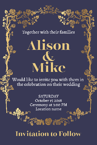 Gold with Dark Blue Wedding Poster Invitation Example