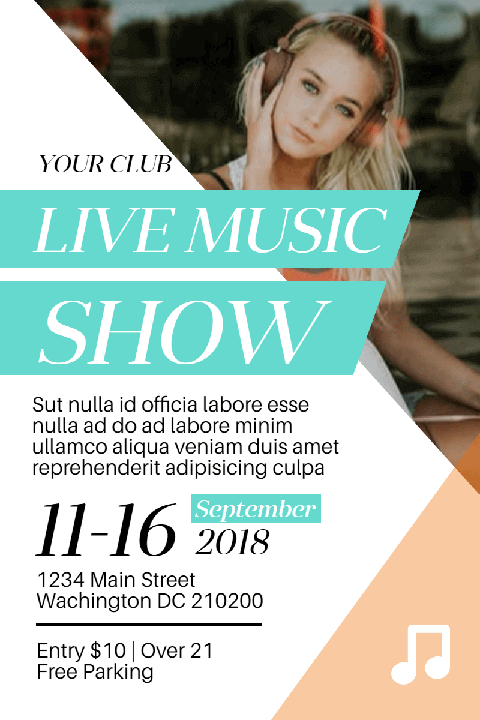 Live Music Show Poster Invitation Template