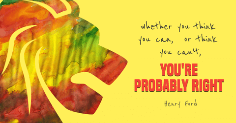 Motivational Quote Card with a Colorful Lion and Yellow Background
